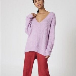 NWOT FP Lofty V-Neck Sweater in pink size S